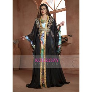 Trendy Beautiful Gulf Trend Pastel Color and Black Partywear Moroccan Style Dubai Dress