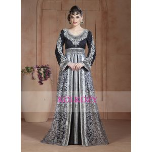 Gray and Black color net brasso Moroccan style wedding Long Sleeve Kaftan
