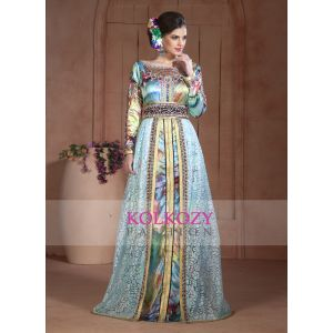 Beautiful Aquea Blue and Digital Print Embroidered Hand beaded Caftan