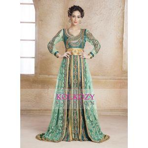Scintillating Green Hand beaded Stander Size Arabian Design Kaftan