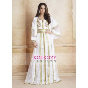 Trendy Beautiful Gulf Trend White Color Partywear and Jacket  Style Dubai Dress