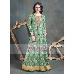 Sea Green Color Embroidery Formal Party Maxi Dress