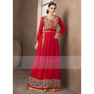 Red Color Long Sleeve Formal Maxi Dress