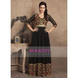 Black and Gold Color Dubai Style Maxi Dress