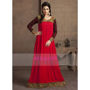 Red Color Long Sleeve Modern Embroidery Maxi Dress