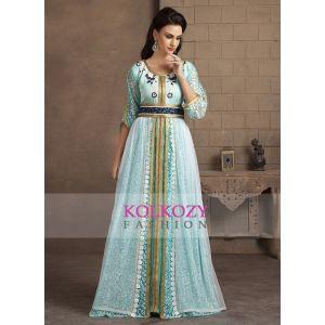 Aqua Blue Color Kaftan Arabic Evening Dress With Net Brasso and Thread Work