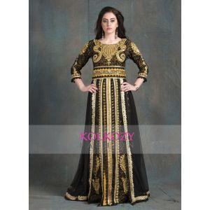 Black and Gold Color Designer  Handmade Arabic  Moroccan Long Sleeve Wedding Caftan