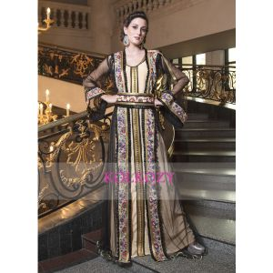 Moroccan Kaftan Embroidery Work Biscuit and Black Net Embroidery Work Partywear Jacket Style