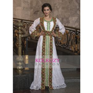 Arabic Style with Embroidery Work and Machine Work Kaftan White Color Net Brasso