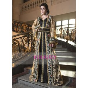Biscuit Color Designer Embroidery Arabic Moroccan Style Caftan