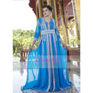 Moroccan Style Caftan With Pearl and Stone Work With Train Blue Firoji Color