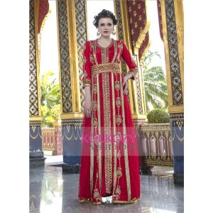 Moroccan Style  Wedding Dress With Net Brasso and Lace Work  Red Color Kaftan