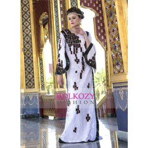 Modern Style Sequence Work White Color Maxi Dress