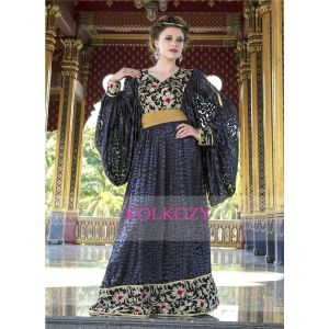 Embroidery Work Kaftan Gray and Black Color Net Brasso Arabic Style