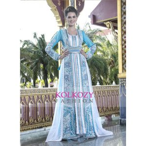 Firozi and White color Moroccan Wedding Kaftan With Pearl Handwork and Train
