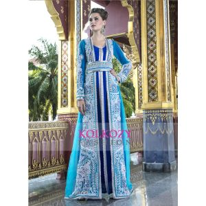 Blue and Firozi color Moroccan wedding Kaftan with Pearl Handwork