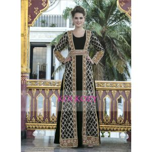 Black and Gold Modern Style Embroidery Full Sleeve Party  Maxi Dress