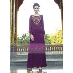 Thread Work and Stone Work Party Wear Purple Color Kaftan Dress