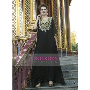 Arabic Style Free Size Black Color Hand Made Kaftan