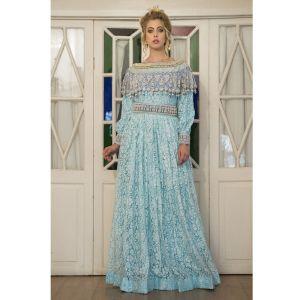 Aqua Blue Maxi Arabic Style Dress