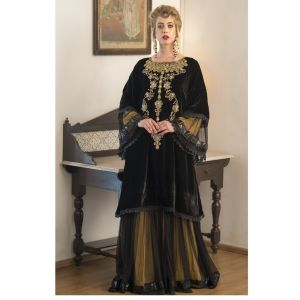 Black and Yellow Long Sleeve Embroidery Evening Dress