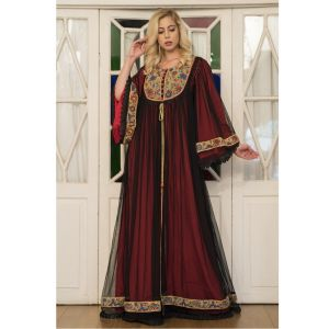 Black and Red Embroidery Maxi Kaftan