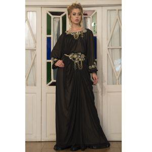 Black and Beige Embroidered Long Kaftan Dress