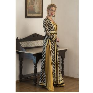 Black and Yellow Party Wear Arbic Style Moroccan Kaftan