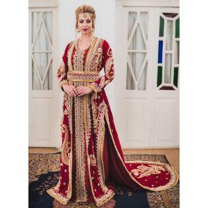 Maroon Long Sleeve Arabic Wedding Kaftan
