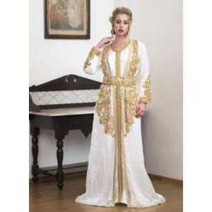 White Party Wear Handmade Moroccan Style Kaftan