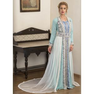 Mint Green and Blue & White Arabic Evening Dress With Net Brasso and Lace Work