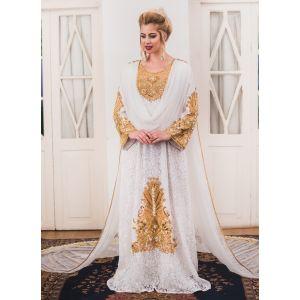 White Wedding Style kaftan With Veil