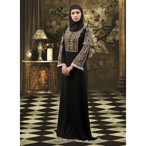 Thread Work Abaya Black Dress