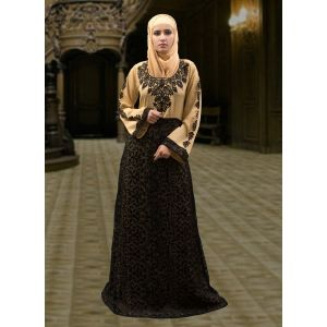 Maxi Style Abaya Dress Black and Beige Color