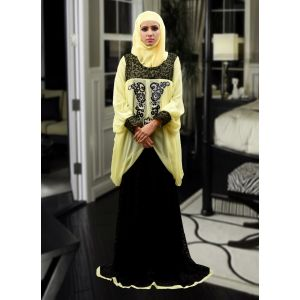 Lace Work Style Abaya Black and Lemon Yellow Color