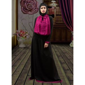 Modest Maxi Dress Abaya Black and Pink Color