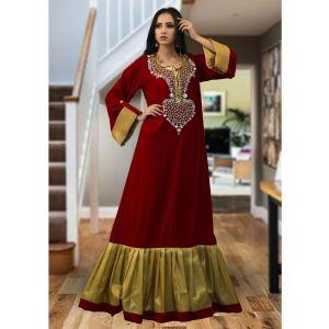 Moroccan Style Kaftan Maroon Color