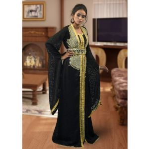 Lace Work Style Abaya Black Color