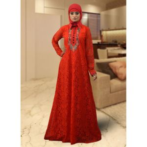 Trendy Red Color Style Kaftan
