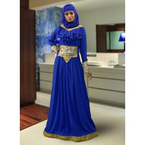Muslim Formal Evening  Blue Color Abaya