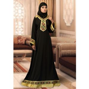 Modest Black Color Maxi Dress Abaya