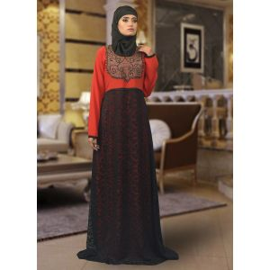 Red Maxi Abaya Dress