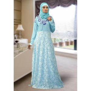 Formal Abaya Maxi Dress Aqua Blue