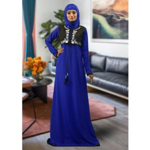 Blue Color Embroidered Style Abaya