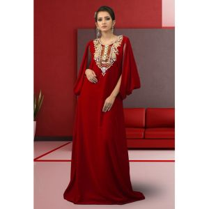Muslim Formal Evening Abaya Maroon Color