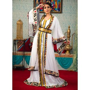 Morrocon Style Embroidery Work White Color
