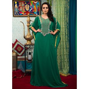 Sea Green Color Hand Beaded Georgette Free Size Caftan