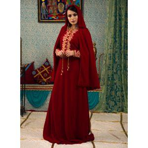 Maroon Color Wedding Dress Kaftan With Trail