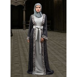 Dark Gray and Black Color Jacket Style Abaya Dress