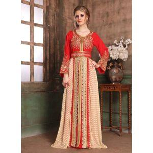 Red and Beige color Kaftan-Brasso Kaftan